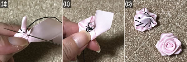 リボンで簡単♪バラの作り方「A.針と糸を使う」手順 4