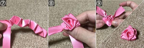 リボンで簡単♪バラの作り方「C.糸なし」手順 3
