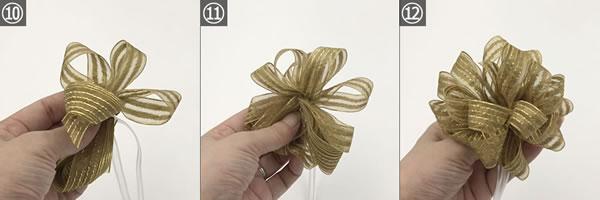 クリスマスリース用リボン「ポンポンボウ」の作り方手順 10~12