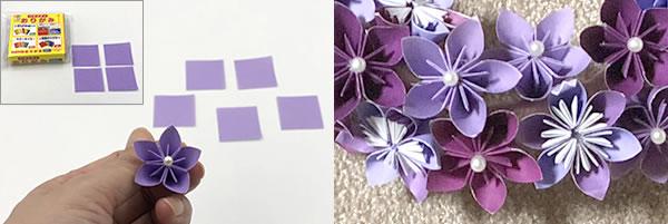 折り紙の花で作るリース「花の作り方」