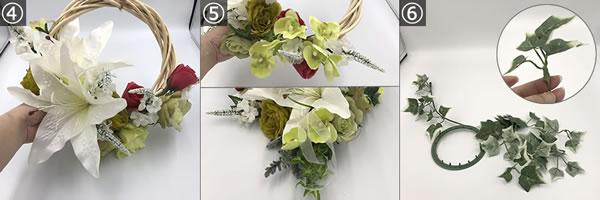 100均アイテムで作る「造花リース」の作り方♪「大リース」の作り方手順4~6