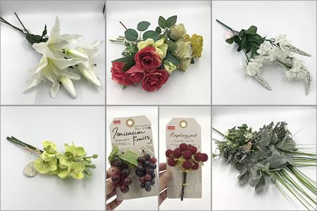造花リースの作り方「100均の造花」