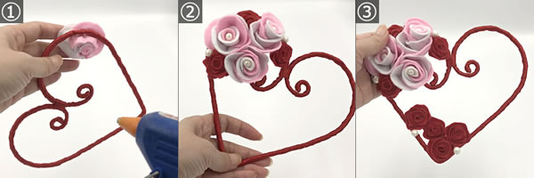 フェルトで作った「花(バラ)」取り付け方 手順1~3