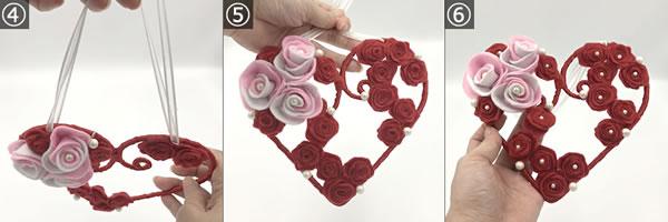 フェルトで作った「花(バラ)」取り付け方 手順4~6