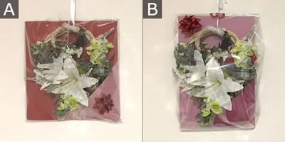 リースのプレゼント用ラッピング方法「バリエーション」