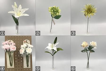 リースの手作り材料「おもな100均の造花」の種類 1