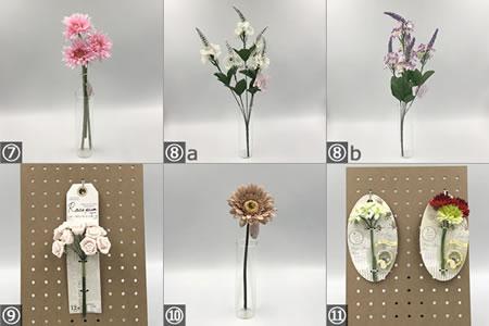 リースの手作り材料「おもな100均の造花」の種類 2
