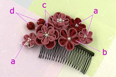 つまみ細工で作る♪梅の髪飾りの作り方「各パーツと材料」
