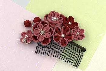 【つまみ細工】梅の髪飾りの作り方「完成イメージ」