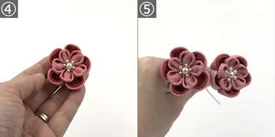 つまみ細工の髪飾り「梅の花(二重丸つまみ 2段)」の作り方 手順4~5