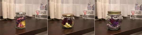 バラのドライフラワーの飾り方「ジャムなどの空き瓶で飾る!」