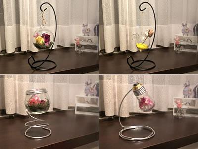 バラのドライフラワーの飾り方「ワイヤーに吊るした瓶で飾る!」