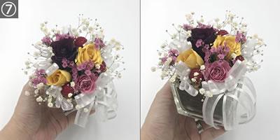 100均材料で手作りできる♪バラのドライフラワーアレンジの作り方「土台に花とリボンを付ける」手順7(完成)