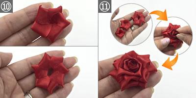 リボンで作る「リアルなバラの花」の作り方 手順10~11
