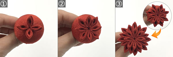 つまみ細工「ダリアの花」の作り方 手順1~3