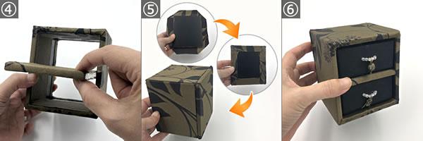牛乳パックで作る♪「引き出しタイプの小物入れ(外枠部分)」の作り方手順4~6