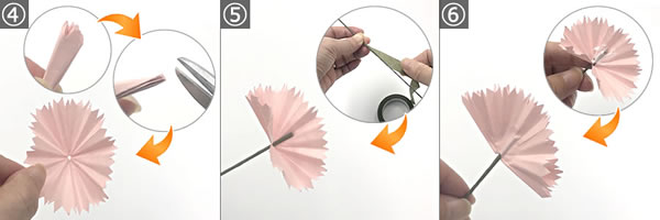 折り紙で作る♪立体的なカーネーションの作り方 手順4~6