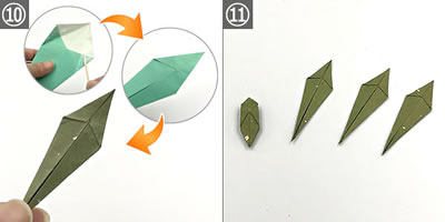 折り紙で作る♪立体的なカーネーション(葉・ガク)の作り方 手順10~完成