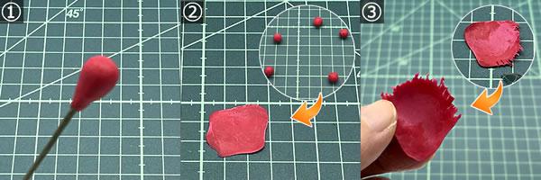 樹脂粘土で手作り♪「カーネーション」の作り方 手順1~3