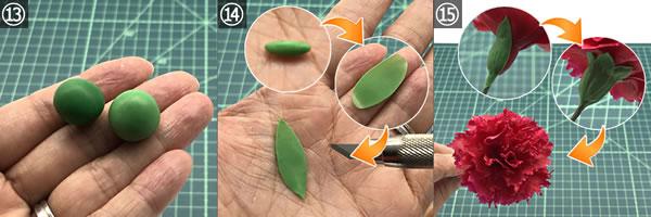 樹脂粘土で手作り♪「カーネーション」の作り方 手順13~15
