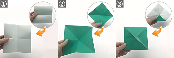 折り紙で作る「紫陽花」の立体的な折り方!紫陽花の土台の作り方 手順1~3