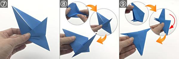 折り紙で作る「紫陽花」の立体的な折り方!紫陽花の花の作り方 手順7~9