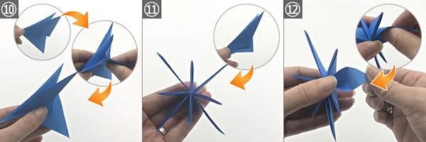 折り紙で作る「紫陽花」の立体的な折り方!紫陽花の花の作り方 手順10~12