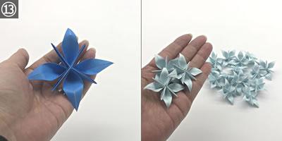 折り紙で作る「紫陽花」の立体的な折り方!紫陽花の花の作り方 手順13「完成」