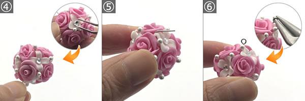 樹脂粘土で作る花のピアス♪組み立て方 手順4~6