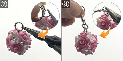 樹脂粘土で作る花のピアス♪組み立て方 手順7~8
