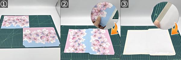 紙袋をリメイクして作るポーチの作り方 手順1~3