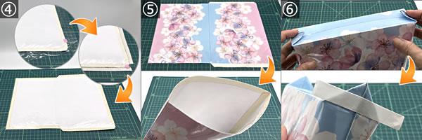 紙袋をリメイクして作るポーチの作り方 手順4~6