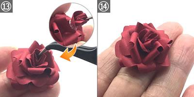 クラフトパンチで作る「立体のバラの花」の作り方 手順13~14