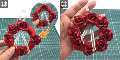 クラフトパンチの花を「リース」に仕上げるやり方 手順10~完成