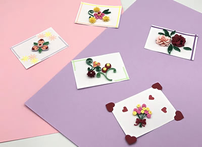 クラフトパンチとペーパークイリングで作る「花のメッセージカード」の作り方『バリエーション例』