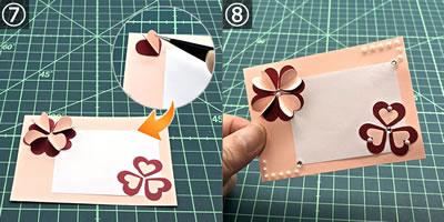 クラフトパンチの花で作るメッセージカードの作り方 手順7~8