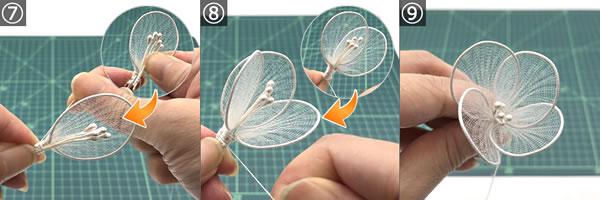 ワイヤーで作る花の簡単な作り方 手順7~9