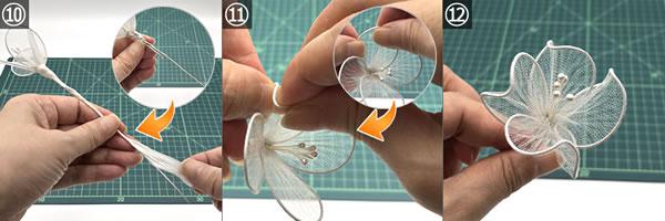 ワイヤーで作る花の簡単な作り方 手順10~12