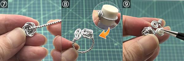 【ハンドメイドアクセサリー】ワイヤーで作る指輪の作り方!手順7~9