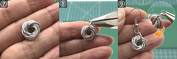ワイヤーで手作り♪フラワー風ピアスの作り方!手順7~9