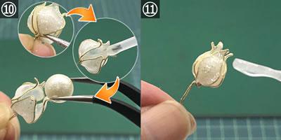 マニキュアフラワーで手作り♪ピアス(スズランの花)の作り方!手順10~11