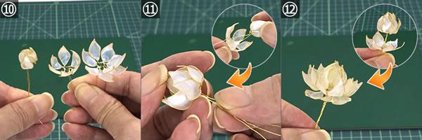 マニキュアフラワーで作る「蓮の花」の作り方!手順10~12