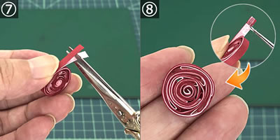 ペーパークイリングで手作り♪バラの花の作り方!手順7~8