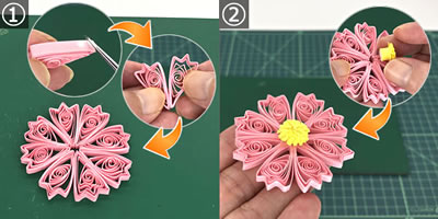 ペーパークイリングで手作り♪コスモスの花の作り方(貼り合わせ方)!手順1~2