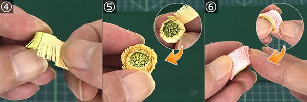 ペーパークイリングで手作り♪ガーベラの花の作り方(中心部分)!手順4~6