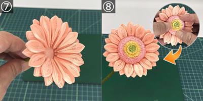 ペーパークイリングで手作り♪ガーベラの花の作り方(貼り合わせ方)!手順7~8