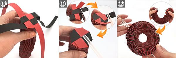 紙を編んで作るリースの作り方!手順10~12