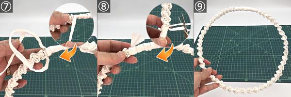 紙紐で手作り♪リース土台「大」の作り方!手順7~9