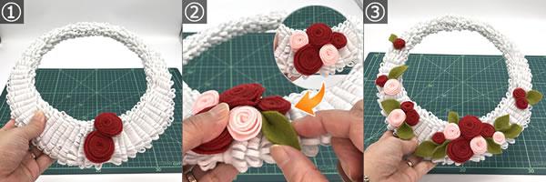 フェルトで作るバラのリースの作り方(装飾してリースを完成させる)!手順1~3