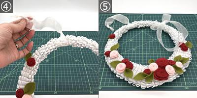 フェルトで作るバラのリースの作り方(装飾してリースを完成させる)!手順4~5